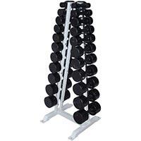 Гантельный ряд обрезиненный, от 1 до 10кг, с шагом 1 кг, 10 пар, стеллаж